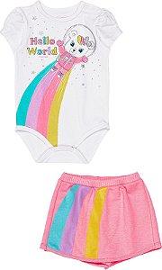 Conjunto Bebê Body e Shorts Saia Momi