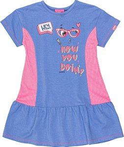 Vestido Momi Verão 2022 Azul c/ Rosa Neon