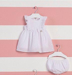 Vestido Branco Bebê C/ Calcinha Verão 2022 Mon Sucre Happy Times
