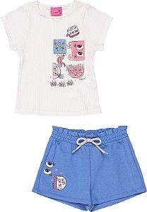 Conjunto Menina Verão 2022 Momi Blusa Off White e Shorts Moletinho