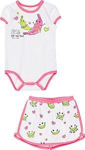 Conjunto Menina Verão 2022 Momi Bebê Body e Shorts Saia