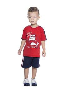 Conjunto Masculino Bebê Camiseta Vermelho e Bermuda Moletinho Marinho