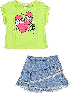Conjunto Feminino Momi Verão 2022 Blusa Amarelo Neon e Saia Jeans