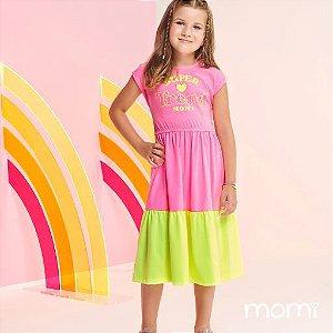 Vestido Momi Verão 2022 Color Rosa e Amarelo Neon