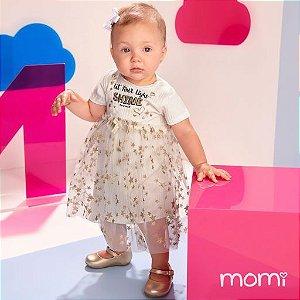 Vestido Momi Verão 2022 Canelado com Tule Off White