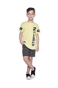 Camiseta Masculina Alongada Amarelo Siciliano