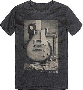 Camiseta T-Shirt Masculina Guitarra Rock Preto 02 ao 08