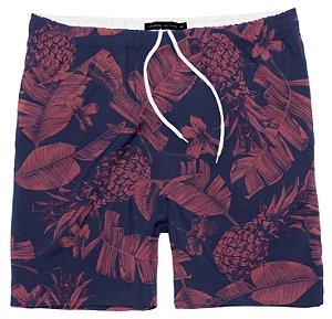 Shorts Masculino Praia Hibiscus Cereja King 10 ao 16