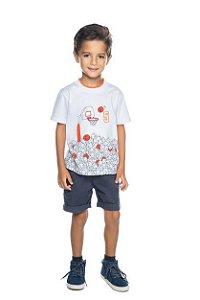 Conjunto Masculino Camiseta Basquete e Bermuda Sarja Confort Have Fun 04 ao 08