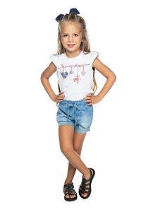 Conjunto Feminino Blusa Cotton e Shorts Jeans Confort Have Fun 01 ao 03