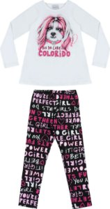 Conjunto Momi Blusa Dog E Legging Estampada Girls