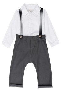 Conjunto Luc.Boo Body Camisa Branca Tricoline, Suspensório e Calça Cotton Jeans