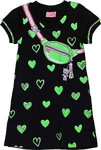 Vestido T-Dress Coração Neon Preto