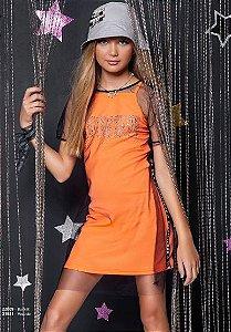 Vestido Canelado Neon c/ Sobreposicao de Tule