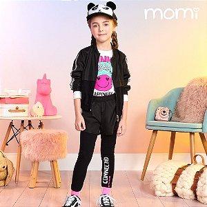 Conjunto Menina Blusa ML Funny Yes e Leeging Sobreposicao de Shorts Momi