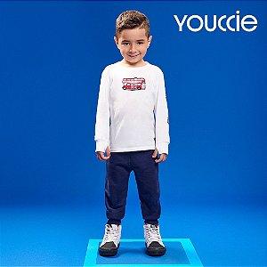 Camiseta T-Shirt ML Youccie Silk Onibus Branca Puro Algodao