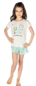 Pijama Feminino Camiseta e Short Gatinho