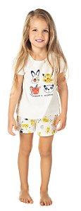 Pijama Feminino Blusa e Short Off White