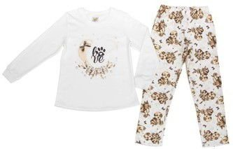 Pijama Feminino Love Off White