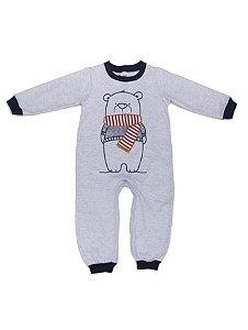 Pijama Macacão Masculino Cinza Mescla Urso