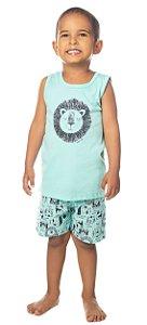 Pijama Masculino Regata e Bermuda Leão Verde