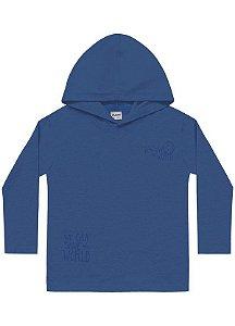 Camiseta Menino Manga Longa c/ Capuz Azul Jeans