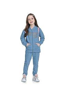 Conjunto Menina Moletom Jaqueta c/ Capuz e Calça Unicórnio Azul Céu