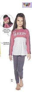 Pijama Menina Blusa ML e Calça To Sleep c/ Tapa Olhos