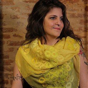 Lenço de Algodão Amarelo Myriam Aguiar