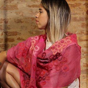 Lenço de Algodão Rosa Pink Myriam Aguiar