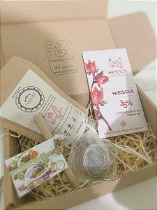 Kit de chá e chocolate Hibiscus Mestiço Chocolates