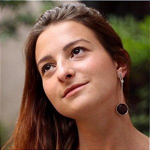 Brinco Marte com Madeira Jacarandá - Mônica Bacci