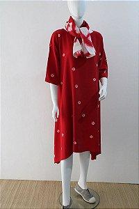Vestido Com Bicos Vermelho Seda Pintada Helena Ratto
