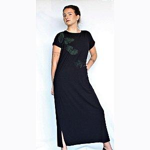 Vestido Paty Preto Longo - Estampa