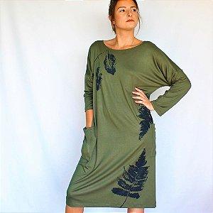Vestido Leo Meia Manga Verde Curto - Estampa