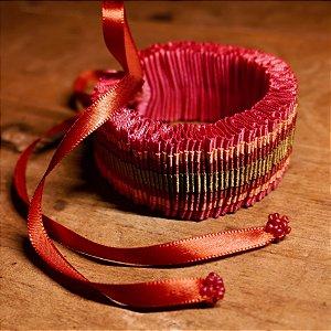 Pulseira/Colar de Fitas Rosa - Fita de Moça