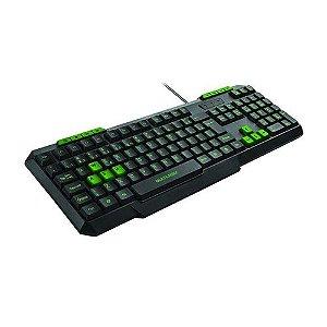 Teclado Gamer Multilaser Multimidia Slim Preto/Verde TC243