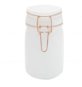Pote de Vidro Hermético Solid Color - Branco - P