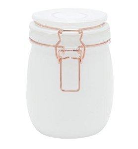 Pote de Vidro Hermético Solid Color - Branco - M