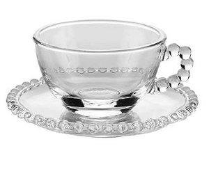 Xícara de Chá + Pires Cristal Pearl