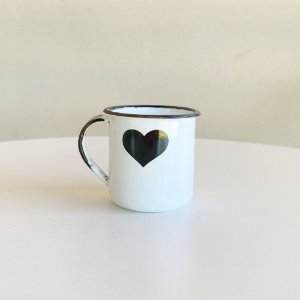 Mini Caneca Ágata Branco - Coração