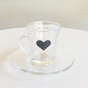 Xícara de Café + Pires  Coração Black