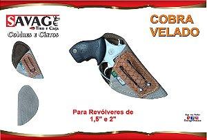 "Coldre Couro P Revolver Snub Cano 1,5"" e 2"" - Cobra - Velado"