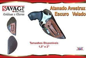 """Coldre Couro P Revolver Snub Cano 1,5"""" e 2"""" - Atanado Avestruz Escuro - Velado"""
