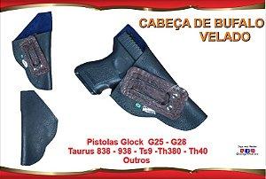 Coldre Velado P Pistola - Glock G25 - G28 e Taurus 838 - 938 - Ts9 - Th380 - Th40 - Corrugado Cabeça de Bufalo