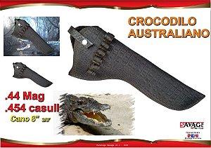 Coldre Couro Crocodilo Australiano Revolver Cano 8 - 44mag ou 454Casull