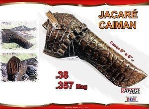 """Coldre Couro P Revólver .38 e .357 Cano de 5"""", 6 ou 6,5"""" - Jacaré Caiman"""