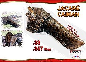 """Coldre Couro P Revólver .38 e .357 Cano de 5"""" 1/8' - Jacaré Caiman"""