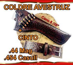 """Coldre + Cinto Couro Avestruz Revólver .44 Mag .454 Casull Cano 8"""" 3/8'"""