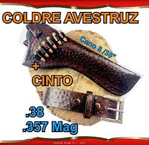 """Coldre + Cinto Couro Avestruz Revólver .38 .357 Cano 8"""" 3/8' Raging Hunter"""